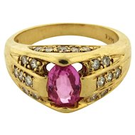 Vintage Pink Tourmaline Diamond 14k Yellow Gold Ring