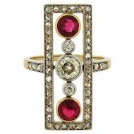 Stunning Original Art Deco Diamond Ruby Platinum 18k Yellow Gold Ring