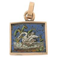 Antique Art Nouveau Micro Mosaic Swan 14k Yellow Gold Pendant