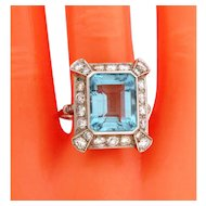Stunning Original Art Deco 11.50 Carat Aqua Marine Diamonds Platinum Ring