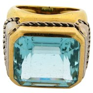 Stunning 20 Carat Aqua Marine Diamond 18k Yellow Gold Cigar Band Ring