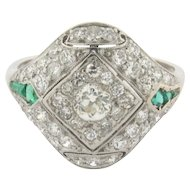 Stunning Original Art Deco Diamonds Emeralds Platinum Ring