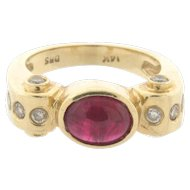 Vintage Designer Cabochon Ruby Diamond 14k Yellow Gold Ring