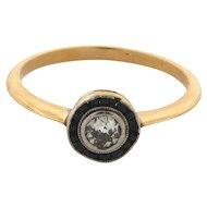 Original Art Deco Sapphires .25 C. Old Mine Cut Diamond 18k Yellow Gold Ring