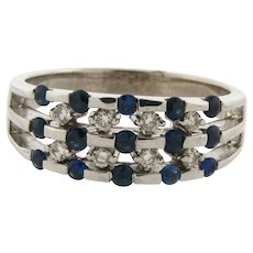Vintage Designer Channel Set Diamonds Sapphires 14k White Gold Ring