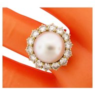 Vintage London English Pearl 2.52 Carats Diamond 18K Yellow Gold Ring