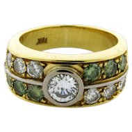 Retro Vintage .60 Carat Center Diamond Green Diamonds 18k Yellow Gold Ring