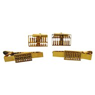 Vintage Pair of 14k Yellow Gold Abacus Cufflinks Tie Bars Set With Box