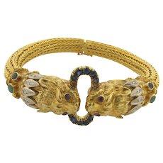 Vintage Lalaounis Greece Chimera Diamond Sapphire Emerald 18K Yellow Gold Bracelet