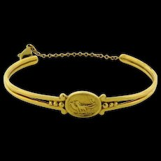 Vintage Helen Woodhull Egyptian Revival 18K Yellow Gold Gold Cuff Bangle Bracelet