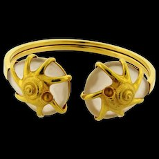 Vintage Ilias Lalounis Rock Crystal Shell Design 18k Yellow Gold Cuff Bracelet