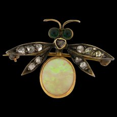 Antique Victorian  Insect Brooch Tourmaline Diamonds Opal 18k Yellow Gold