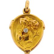 Antique Art Nouveau French Locket Lion With Shield Diamond 18k Yellow Gold