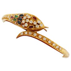 Vintage Serpent Snake Bangle 18k Yellow Gold Rubies Emeralds Sapphires Diamonds