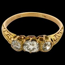 Antique Cushion And Old Mine Cut Three Diamond 18k Yellow Gold Ring