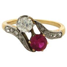 Original Art Deco Bypass Ruby Diamond Platinum 18k Yellow Gold Ring