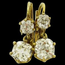 Antique 2.20 Carats Old Mine Cushion Cut Diamonds 18K Yellow Gold Earrings