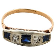 Original Art Deco 2 Diamonds 3 Sapphires Platinum 18k Yellow Gold Ring