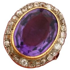 Antique Edwardian 10 C Amethyst Diamond Platinum 18k Yellow Gold Ring