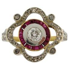 Stunning Original Edwardian Diamonds Rubies Platinum 18k Yellow Gold Ring