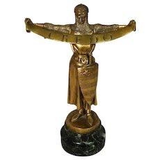 Antique Original E. Fremiet Gilt Bronze Sculpture Credo F. Barbedienne