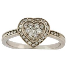 Vintage Designer 36 Diamond Heart Shape 14k White Gold Ring