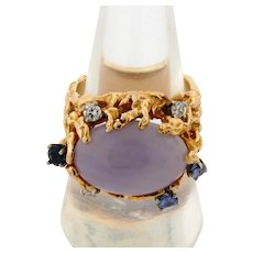 Vintage Designer 14K Yellow Gold Lavender Jade Diamond Tanzanite Ring