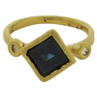 Vintage Designer 1.70 Carat Sapphire Diamond Polished 18K Yellow Gold Ring