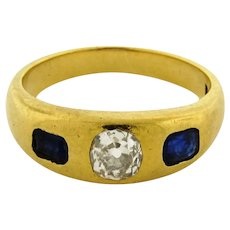 Antique Gypsy Design .50 Carat Cushion Cut Diamond Sapphire 18k Gold Ring C.1900