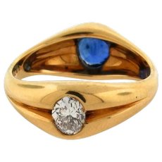 Vintage Mellerio Paris Reversible Sapphire Diamond 18K Yellow Gold Dome Ring