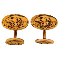 Antique Art Nouveau Tiger Double Sided 14K Yellow Gold Cufflinks C. 1920