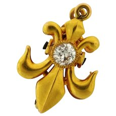 Vintage Fleur De Lis .20 C Diamond 18K Yellow Gold Brooch Pendant With Clip