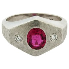 Vintage Pink Tourmaline Diamonds Brushed Finish 14k White Gold Mens Ring