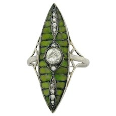Antique Art Nouveau .45 Cushon Cut Diamond Green Plique A Jour Platinum Ring