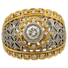 Vintage Filigree .35 C Center Diamonds 18K Platinum Yellow Gold Ring