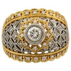 Vintage Filigree .35 C Center Diamonds 18K Platinum Yellow Gold Ring