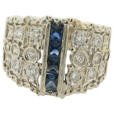 Art Deco Designer Filigree Sapphires Diamonds 18K White Gold Ring