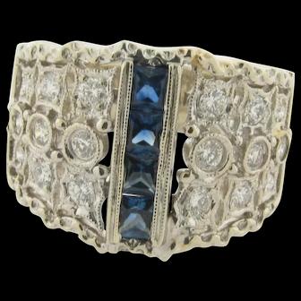 Art Deco Designer Filigree Sapphires Diamonds 18K White Gold Ring