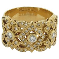 Vintage Filigree Cigar Band Diamonds 18K Yellow Gold Ring