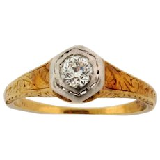 Antique Art Nouveau .30 C Old Mine Cut Diamond 14K Yellow Gold Ring