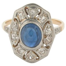 Original Art Deco Cabochon Sapphires Diamonds Platinum 18K Yellow Gold Ring