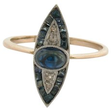 Original Art Deco Evil Eye Sapphires Diamonds Platinum 18K Yellow Gold Ring
