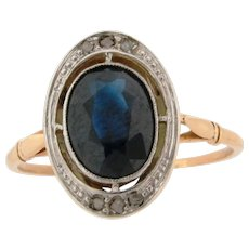 Original Art Deco 2.40 Sapphire Diamonds Platinum 18K Yellow Gold Ring