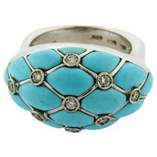 Vintage Designer Turquoise Diamonds Italian 18K White Gold Ring