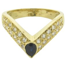 Vintage V-Shape Diamonds Sapphire 18K Yellow Gold Ring