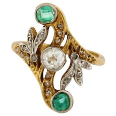 Antique Art Nouveau Diamonds Emeralds 18K White & Yellow Gold Ring