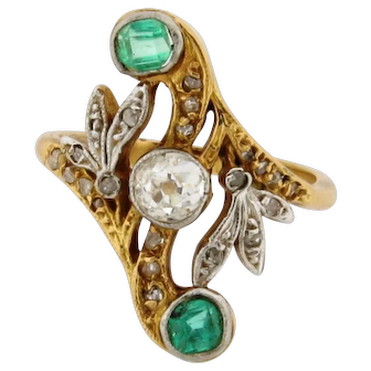 Antique Art Nouveau Diamonds Emeralds 18K White & Yellow Gold Ring