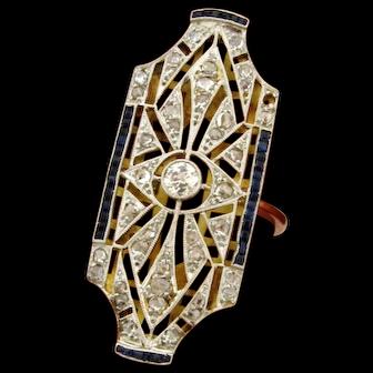 Huge Original Art Deco Filigree Diamonds Sapphires Platinum 18K Yellow Gold Ring