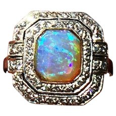 Original Art Deco Opal Diamonds 18K White Gold Ring