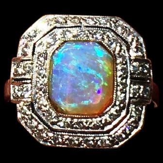 Original Art Deco Opal Diamonds 18K White Gold Ring